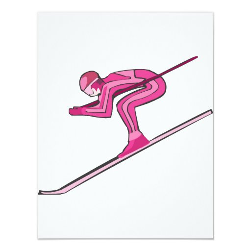 Pink Ski Fast 4.25x5.5 Paper Invitation Card
