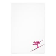 Pink Ski Fast Stationery Design