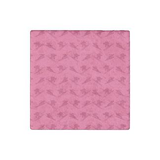 Pink ski pattern stone magnet