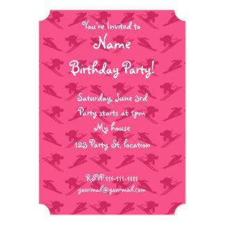 Pink ski pattern 5x7 paper invitation card