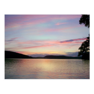 Pink Skies at night!  over Lake Sunapee Postcard