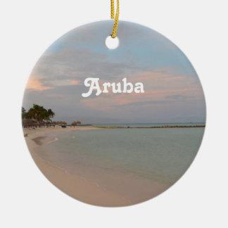 Pink Skies in Aruba Ceramic Ornament