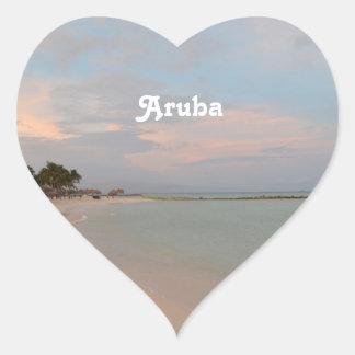 Pink Skies in Aruba Heart Sticker