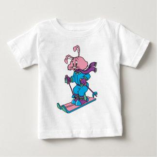 Pink Skiing Rabbit Baby T-Shirt