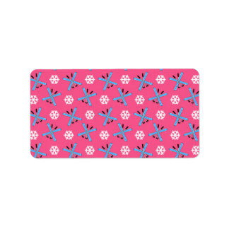 Pink skis and snowflakes pattern personalized address labels