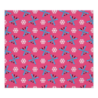 Pink skis and snowflakes pattern poster