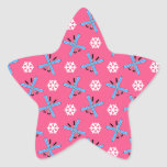 Pink skis and snowflakes pattern star sticker
