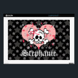 "Pink Skull 17 Inch Laptop Skin<br><div class=""desc"">This goth yet girly pink skull 17 inch laptop sleeve that fits both a Mac and PC has a skull wearing a bow with crossbones behind its head on a pink heart and black and grey stars background. Hot pink and gray grunge splatter completes this customizable punk rock and gothic...</div>"