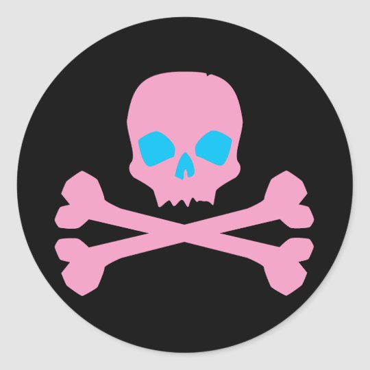 Pink Skull and Bones Classic Round Sticker
