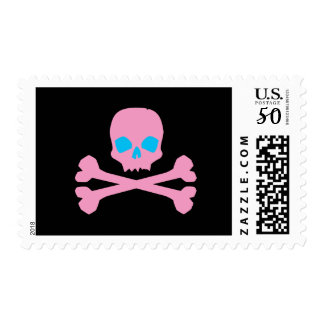 Pink Skull and Bones Postage