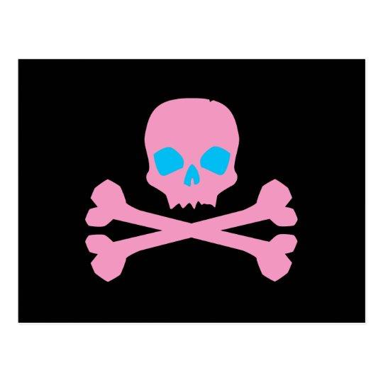 Pink Skull and Bones Postcard