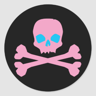 Pink Skull and Bones Stickers
