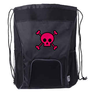 Pink Skull and Cross Bones Drawstring Backpack