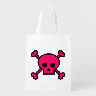 Pink Skull and Cross Bones Market Totes
