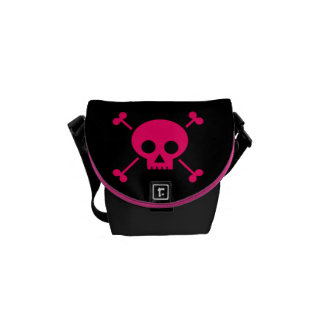 Pink Skull and Cross Bones Courier Bags