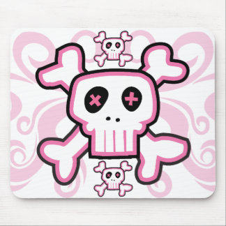 Pink Skull and Cross Bones mouse pad