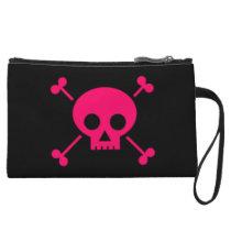 Pink Skull and Cross Bones Wristlet Wallet