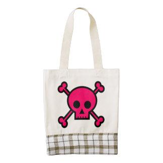 Pink Skull and Cross Bones Zazzle HEART Tote Bag