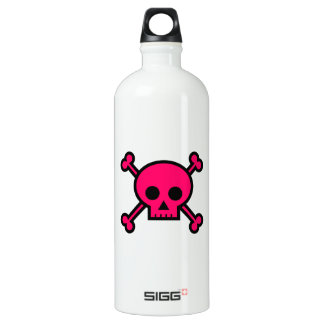Pink Skull and Crossbones Aluminum Water Bottle
