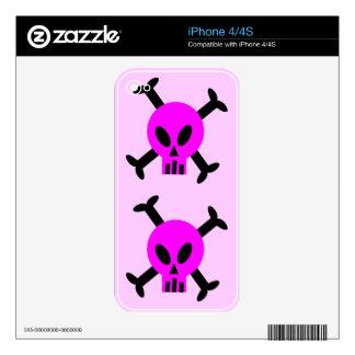 Pink Skull And Crossbones Apple iPhone 4 Skin
