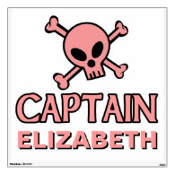Pink Skull and Crossbones - Captain Room Graphics