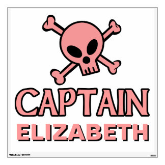 Pink Skull and Crossbones - Captain Room Graphics
