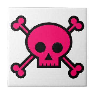 Pink Skull and Crossbones Ceramic Tiles