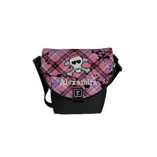 Pink Skull and Crossbones Courier Bag