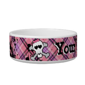 Pink Skull and Crossbones Custom Girl Pet Dog Bowl