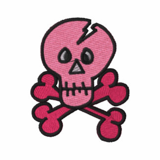 Pink Skull and Crossbones Embroidered Tees