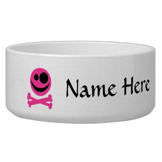 Pink Skull and Crossbones. Hot Pink and Black. Bowl