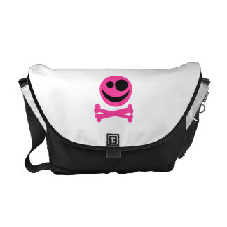 Pink Skull and Crossbones. Hot Pink and Black. Commuter Bags