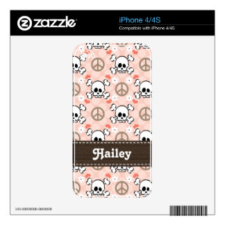 Pink Skull and Crossbones iPhone 4 / 4s Skin Decals For iPhone 4