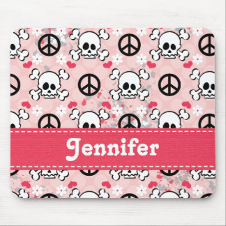 Pink Skull and Crossbones Mouse Pad