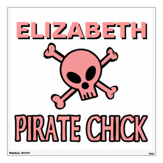 Pink Skull and Crossbones - Pirate Chick Room Stickers