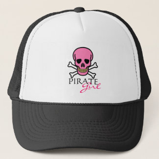 Pink Skull and Crossbones Pirate Girl Trucker Hat