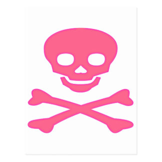 Pink Skull and Crossbones Postcard