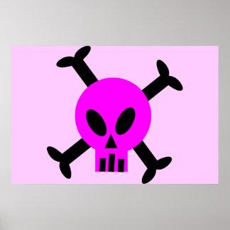 Pink Skull And Crossbones Poster