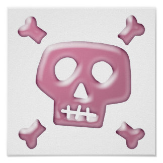 Pink Skull and Crossbones Posters