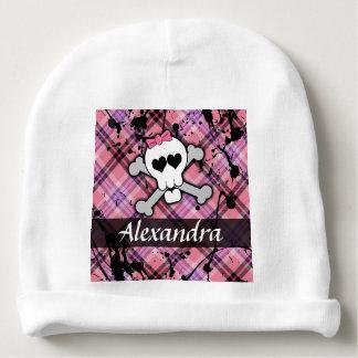 Pink Skull and Crossbones Rocker Chick Baby Girl Baby Beanie