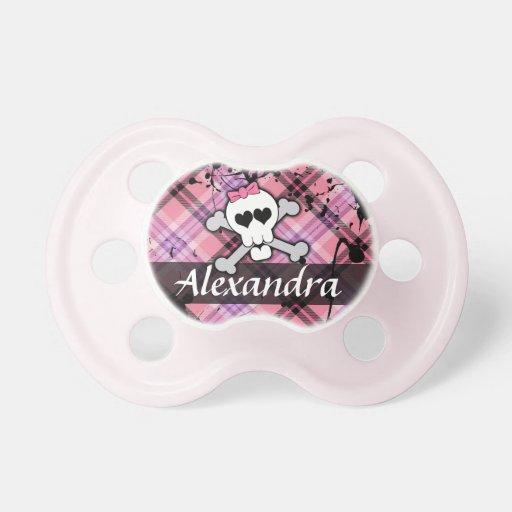 Pink Skull and Crossbones Rocker Chick Pacifier