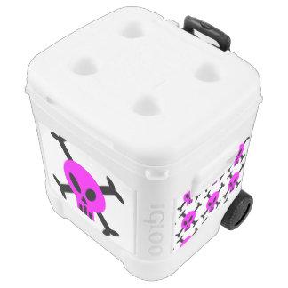 Pink Skull And Crossbones Roller Cooler
