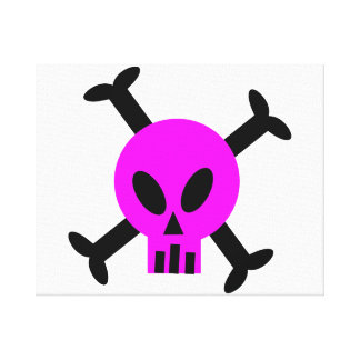 Pink Skull And Crossbones Stretched Canvas Print