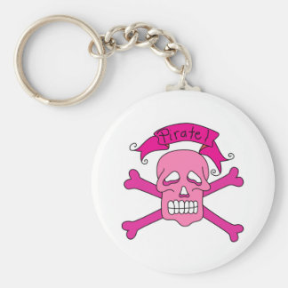 Pink Skull and Crossbones T-shirts and Gifts Basic Round Button Keychain