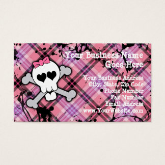 Pink Skull and Crossbones with Hearts and Bow Business Card