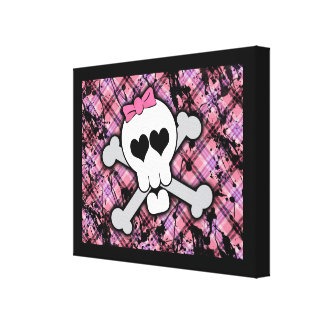 Pink Skull and Crossbones with Hearts and Bow Canvas Print