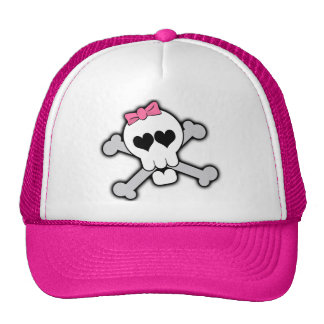 Pink Skull and Crossbones with Hearts and Bow Trucker Hat