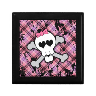 Pink Skull and Crossbones with Hearts and Bow Keepsake Box