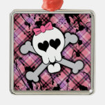 Pink Skull and Crossbones with Hearts and Bow Metal Ornament