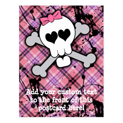 Pink Skull and Crossbones with Hearts and Bow Post Cards